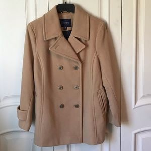 Double Breasted Peacoat, EUC, 16W, Camel Color